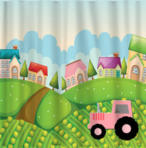 Personalized Shower Curtain - Pink Tractor & Farm Hill Theme - Standard or Ex La - $78.00