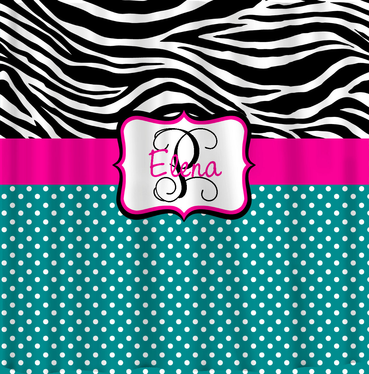 Personalized Shower Curtain -Custom with your Name or Initials -Zebra with any c image 4