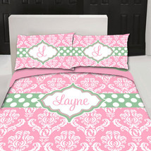 Personalized Custom Damask Bedding Duvet Cover, Available Twin, Queen or King Si - $139.00
