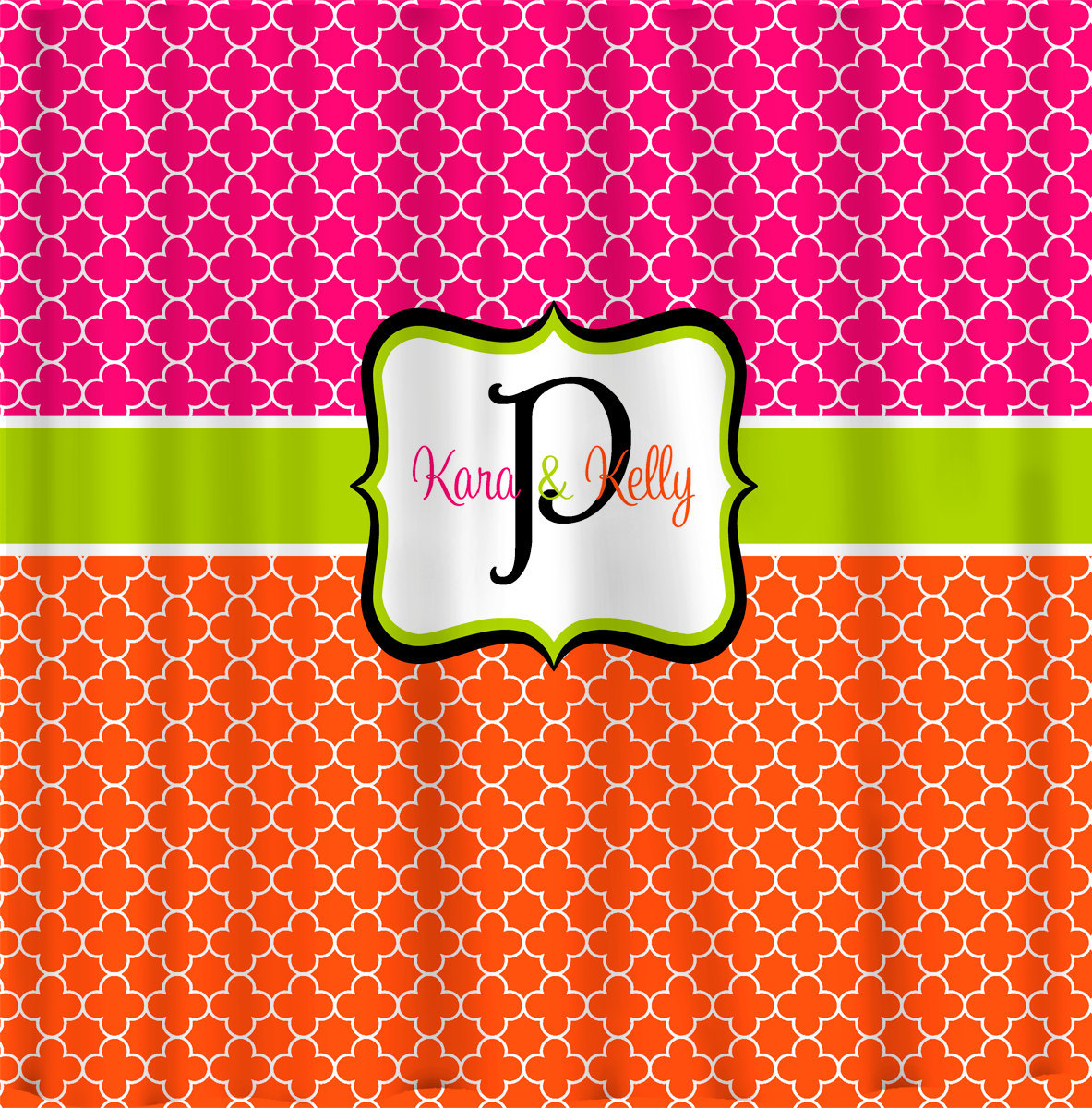 Custom Personalized Quatrefoil Shower Curtain - With Peace Comb option, Hot Pink image 2
