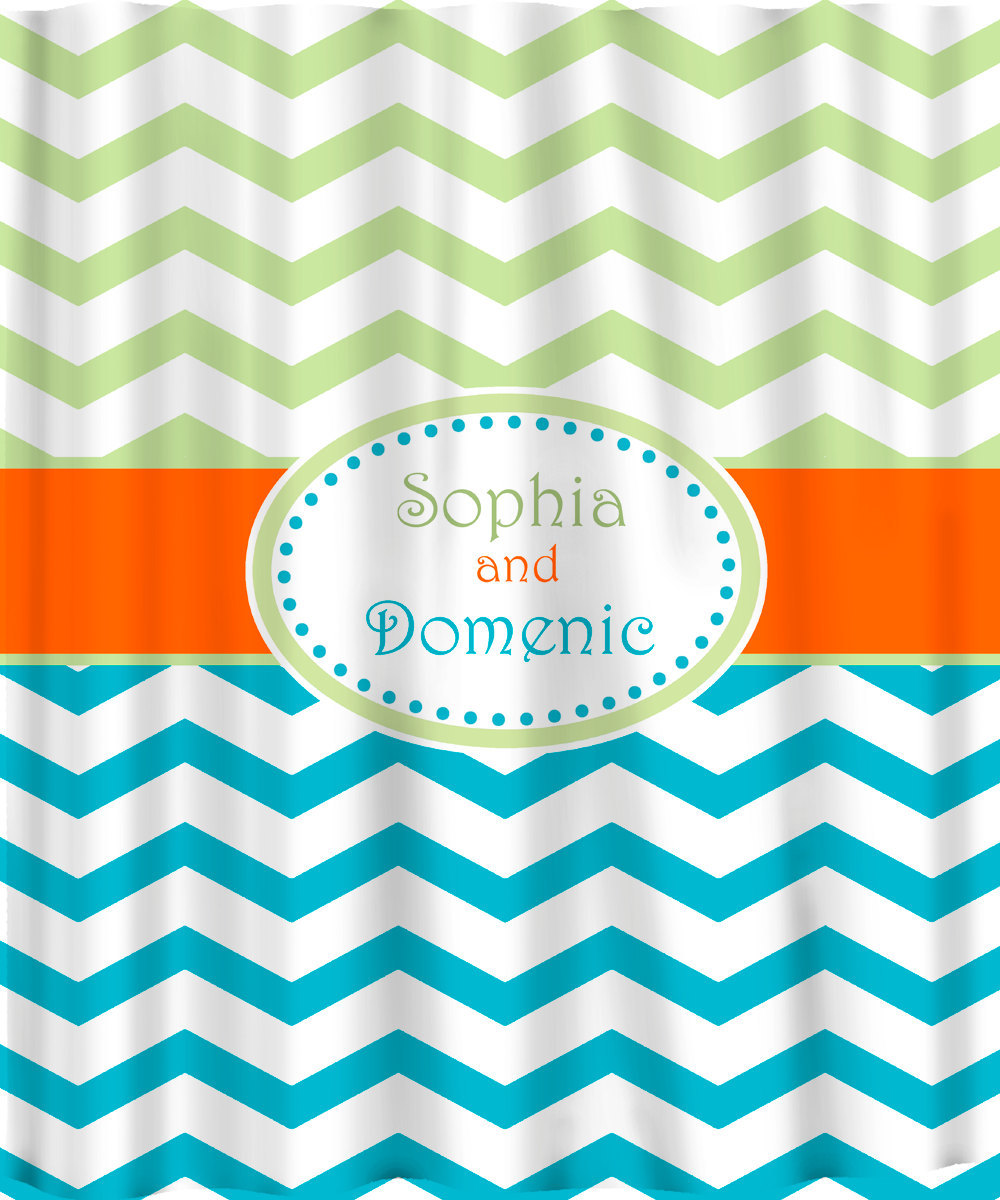 Personalized Shower Curtain -Chevron  Kiwi-Turquoise-Orange -Shared Curtain