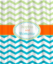 Personalized Shower Curtain -Chevron  Kiwi-Turquoise-Orange -Shared Curtain - $78.00