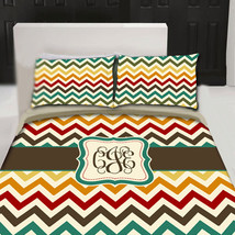 Personalized Custom  Duvet Cover-Warm Multi Colors Chevron - Available Twin, Que - $139.00