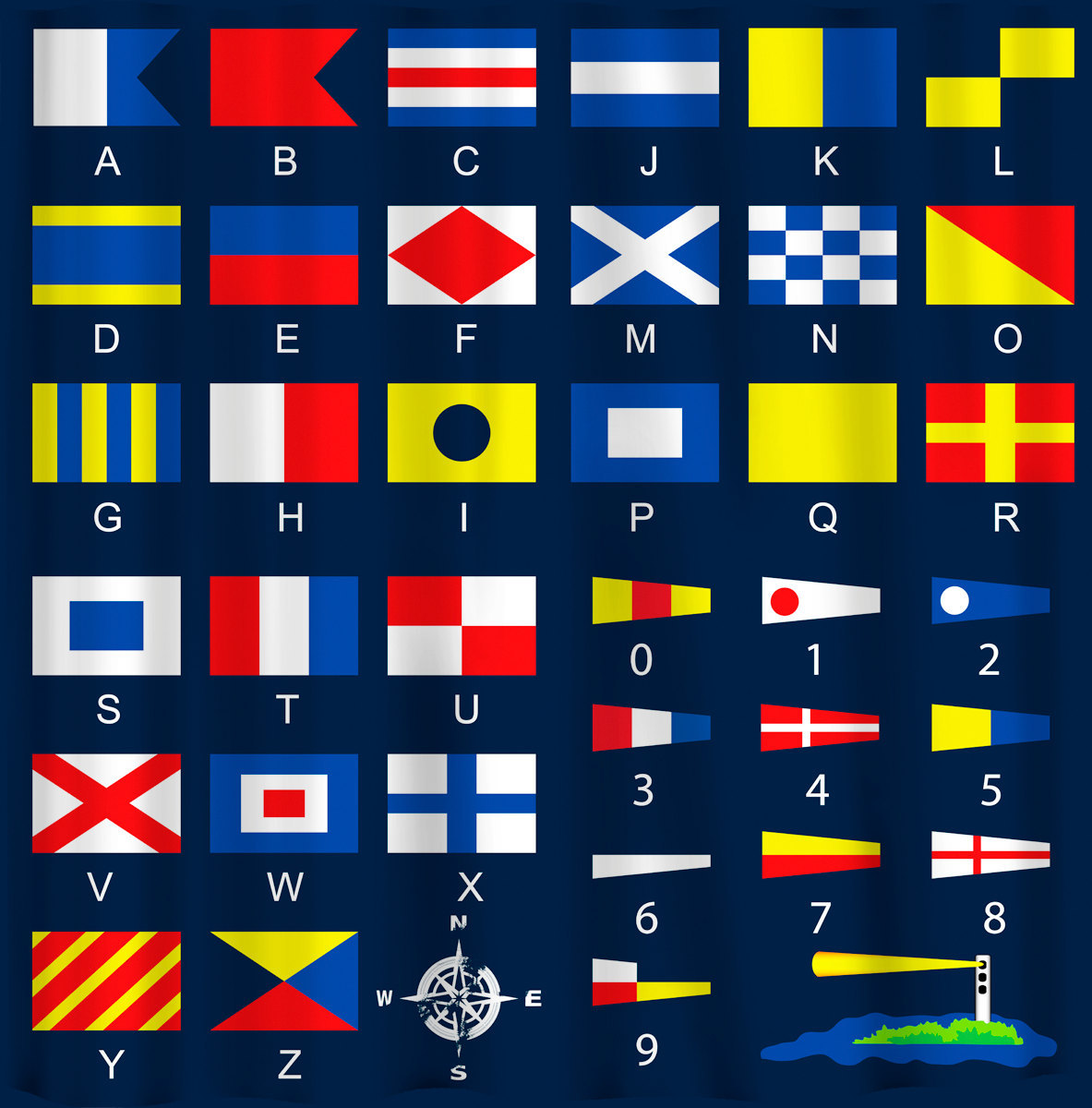 Custom  Shower Curtain - Nautical Flags - can personalize with your name