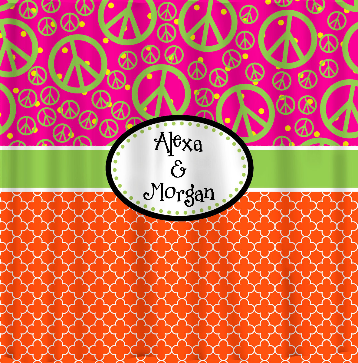 Custom Personalized Quatrefoil Shower Curtain - With Peace Comb option, Hot Pink