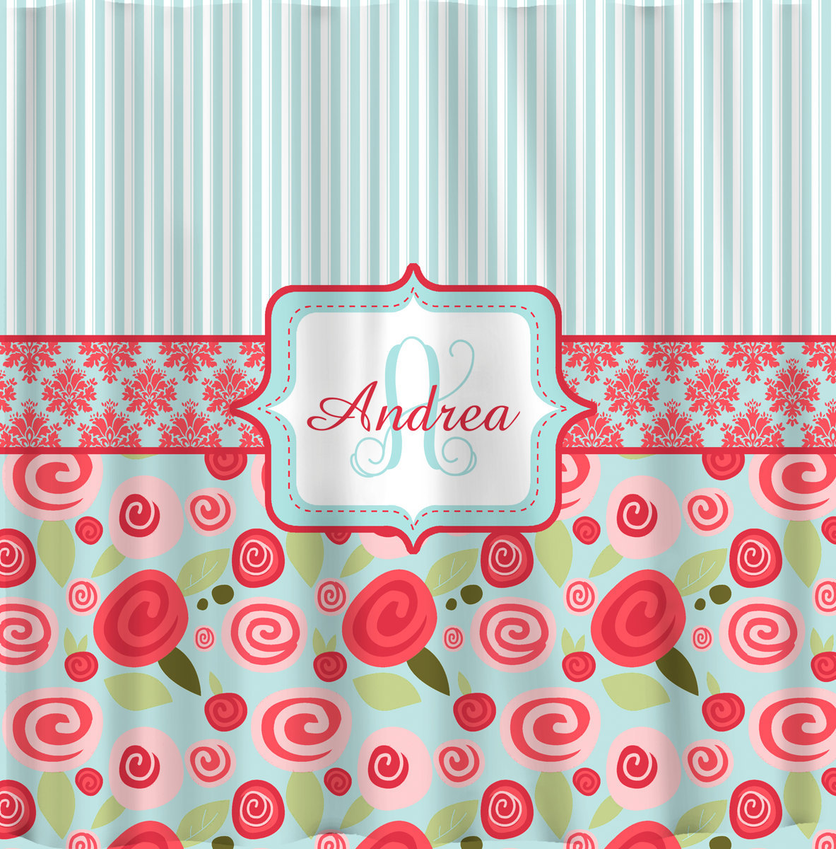 NEW!! Modern Shabby Chic Rose Collection Personalized Shower Curtain-Stripes, Da