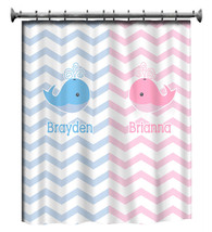 Personalized Shower Curtain - Pink and Blue -Shared Curtain available Ch... - $78.00