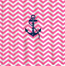Personalized Shower Curtain -Hot Pink and White Thin or Standard Chevron... - $78.00