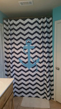Personalized Shower Curtain -Hot Pink and White Thin or Standard Chevron with Na image 4