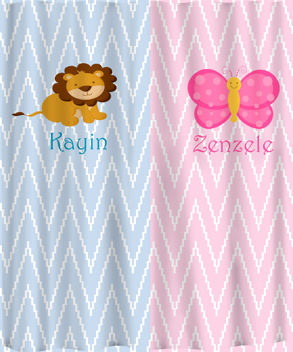 Personalized Shower Curtain - Pink and Blue -Shared Curtain available Chevron, Z