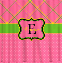 NEW!! Personalized Shower Curtain -Top lattice- bottom dots pink,yellow and gree image 1