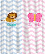 Personalized Shower Curtain - Pink and Blue -Shared Curtain available Chevron, Z image 3