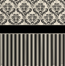 Custom Damask & Stripe Designer Shower Curtain - Your Choice ANY COLOR available image 1