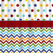 Shower Curtain - Rainbow Bright Dots and Chevron - Or Any colors of your choice image 1