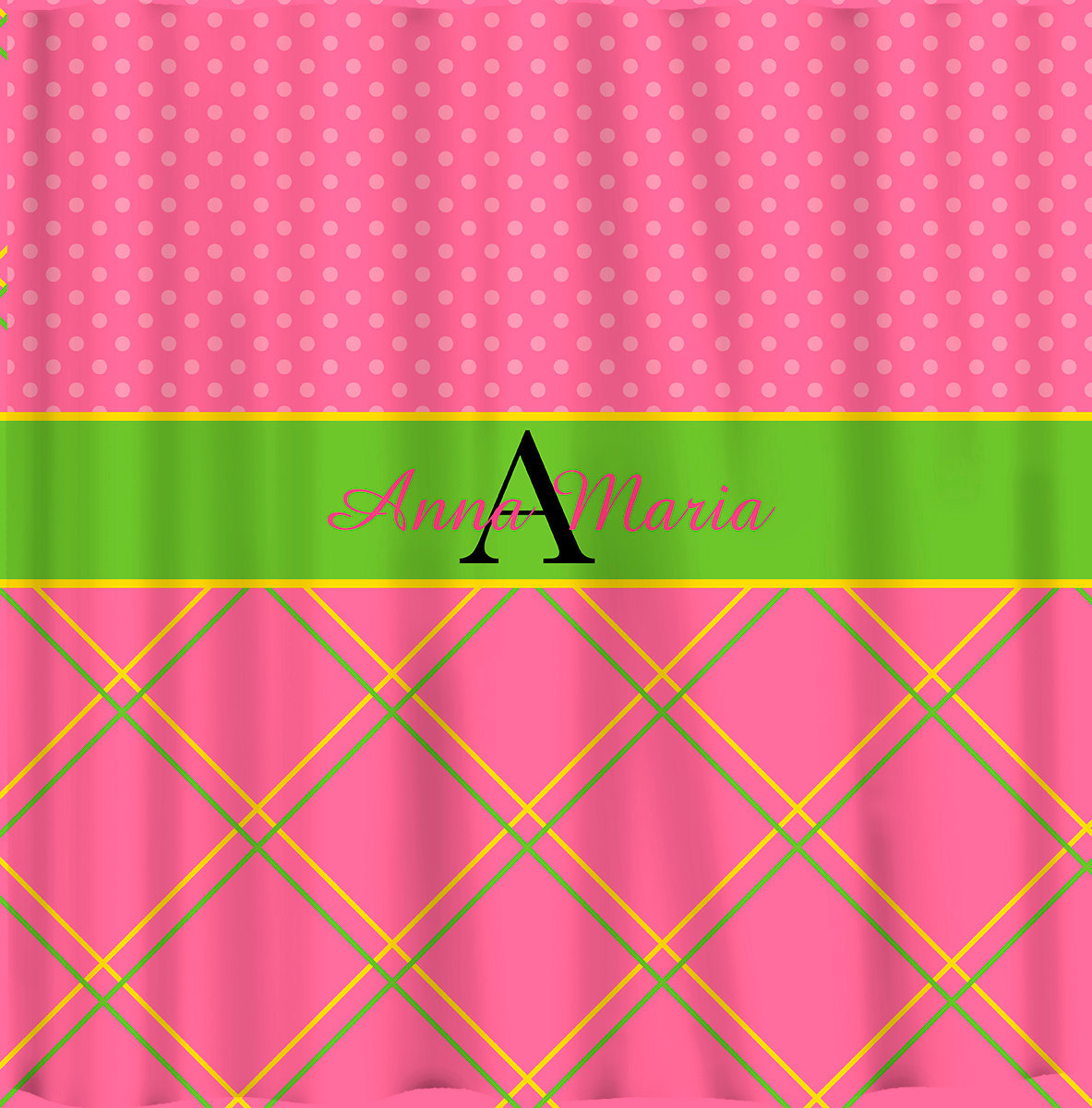 NEW!! Personalized Shower Curtain -Top lattice- bottom dots pink,yellow and gree