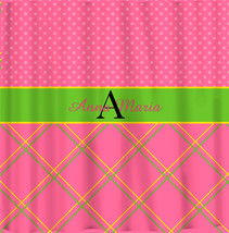 NEW!! Personalized Shower Curtain -Top lattice- bottom dots pink,yellow and gree image 2