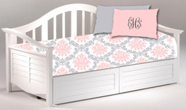 Daybed TWIN Custom Duvet Cover and Pillowcover Sham - Shown in Pink, Grey & Whit - $179.00