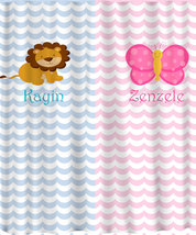 Personalized Shower Curtain - Pink and Blue -Shared Curtain available Chevron, Z image 5