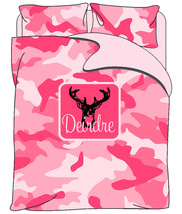 Personalized Custom PINK or Purple Camo Bedding Duvet Cover and Shams - Full/Que - $264.00