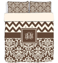 Custom Personalized Chevron & Damask  Duvet Cover and Shams -available Twin, Que - $264.00