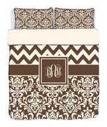Custom Personalized Chevron & Damask  Duvet Cover and Shams -available T... - $264.00