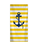Custom Personalized Beach Towel -  Yellow Stripe & Navy Anchor -Color an... - $40.00