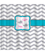 Personalized Shower Curtain -Chevron and Whale -Shared Curtain- Availabl... - $78.00