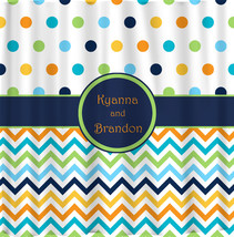 Shower Curtain - Multi color Dots and Chevron - Any colors of your choice image 3