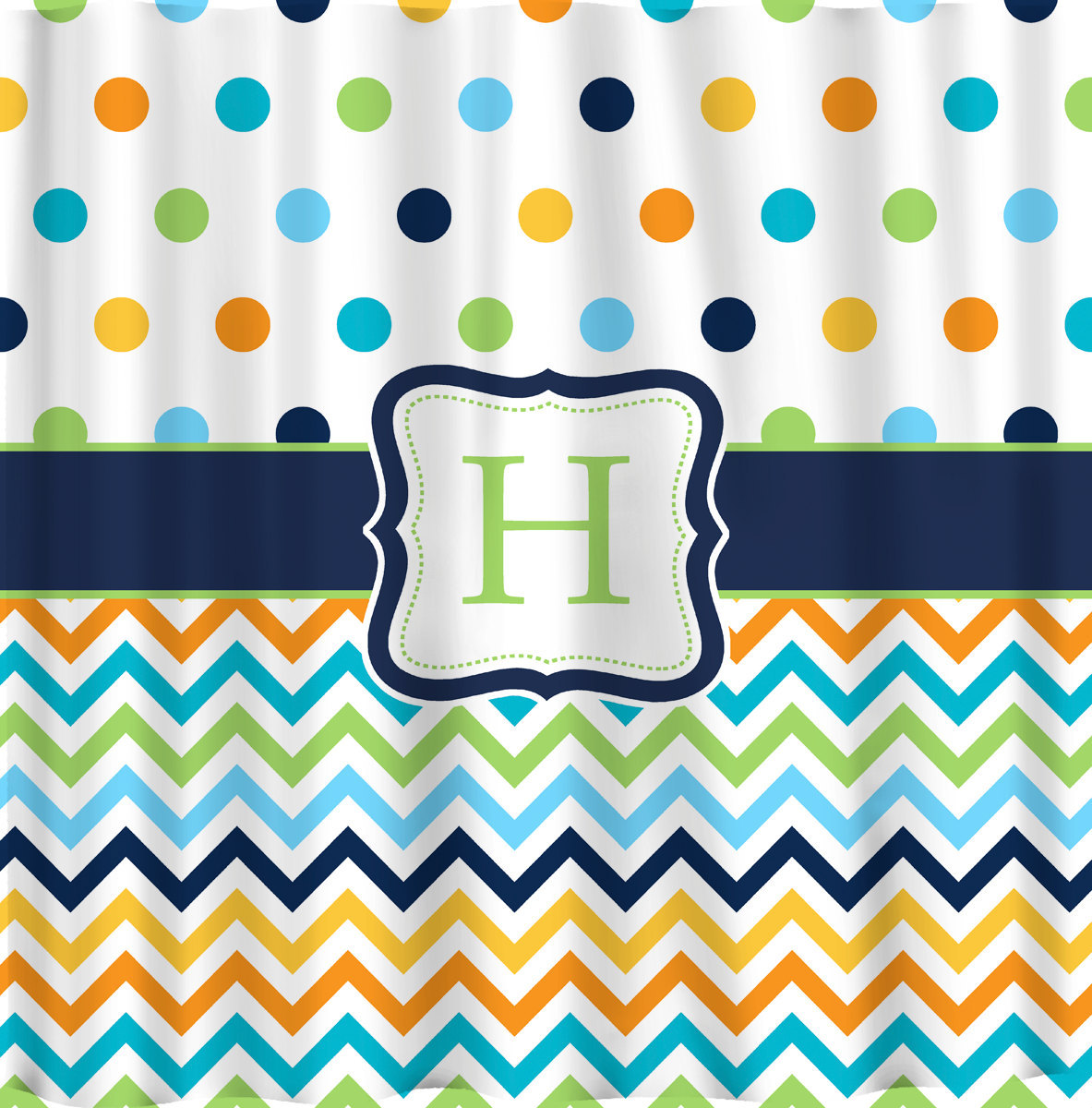 Shower Curtain - Multi color Dots and Chevron - Any colors of your choice