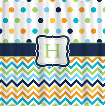 Shower Curtain - Multi color Dots and Chevron - Any colors of your choice - $78.00