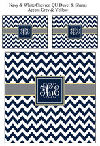 Custom Personalized Chevron Duvet Cover -Available Twin, Queen and King size -Na - $139.00