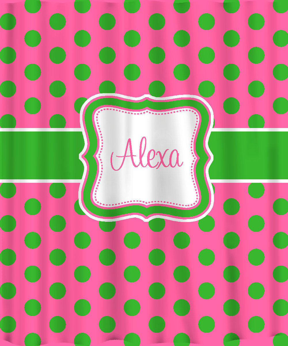 Personalized Shower Curtain - Lime on Hot Pink Polka Dots -any colors image 2