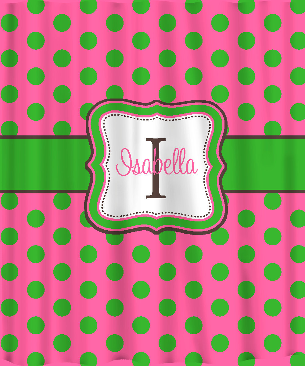 Personalized Shower Curtain - Lime on Hot Pink Polka Dots -any colors