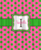 Personalized Shower Curtain - Lime on Hot Pink Polka Dots -any colors image 1