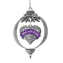 Inspired Silver Purple Mom of the Bride Pave Heart Holiday Decoration Christmas  - $14.69