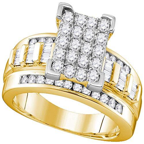 Primary image for The Diamond Deal 10kt Yellow Gold Womens Round Diamond Elevated Rectangle Cluste