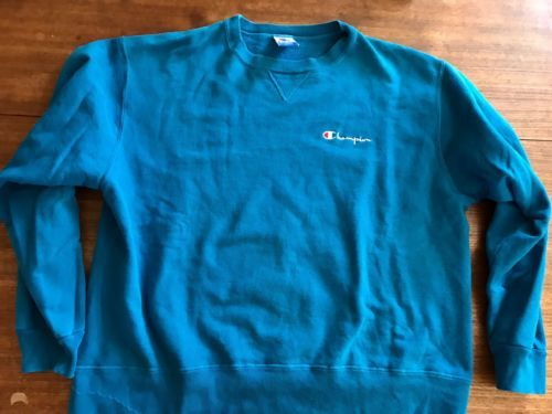 vtg usa made CHAMPION  sweatshirt XL blue Awesome Shade Spell Out 95% Cotton