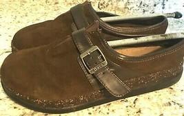 BASS Celeste Slip-On brown Suede Comfort Moc Buckle Cork Clogs Shoes Wom... - $29.65