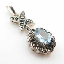Vintage Sterling Silver 925 Marcasite and Blue Topaz Gem Flower Pendant ... - €31,38 EUR