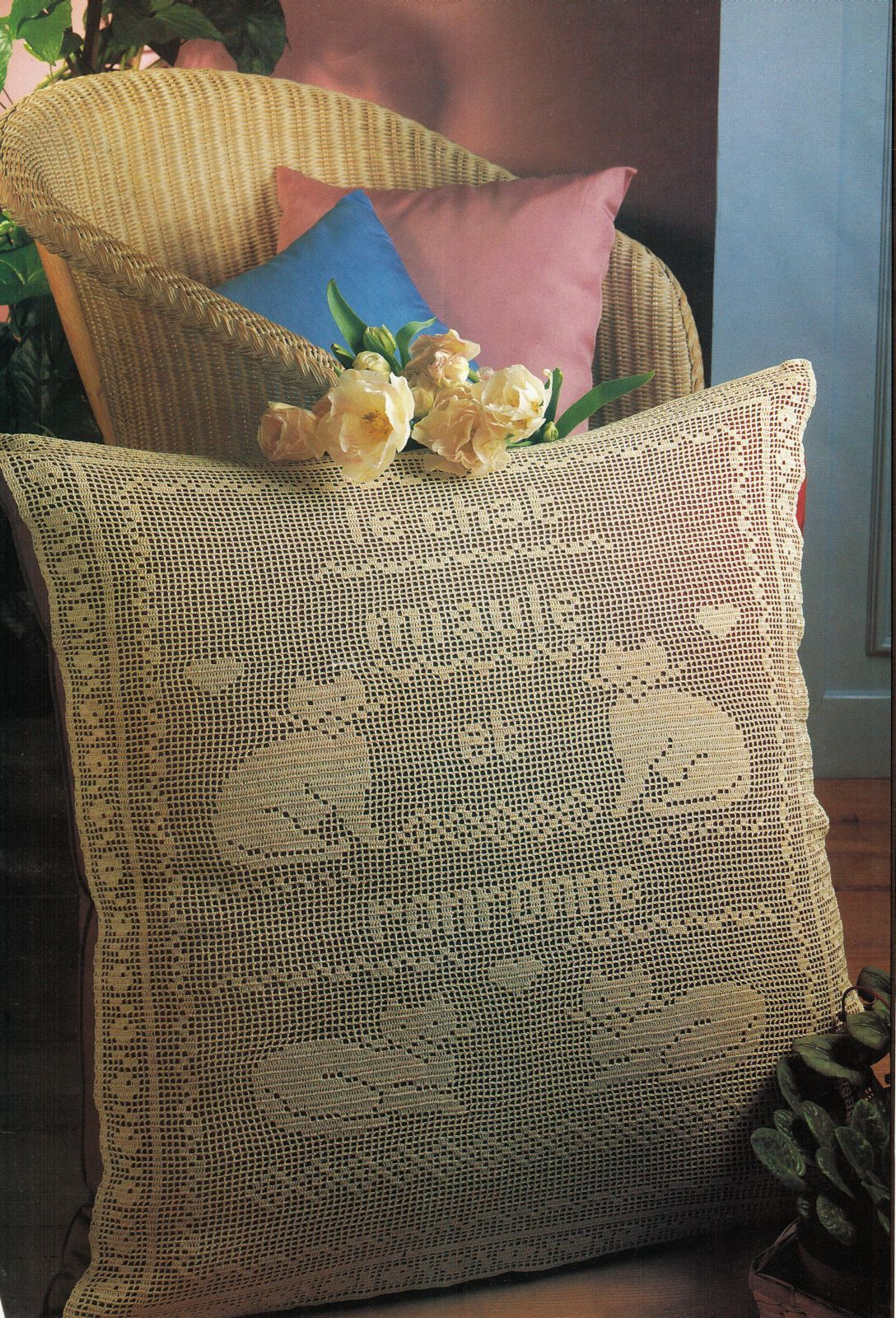 4X French Cats Miaule Ronronne Pillow Luncheon Set Table Throw CROCHET Pattern