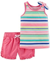 Carter's Baby Girls 2-Pc. Striped Cotton Top & Shorts Set Pink Newborn NWT - $11.62