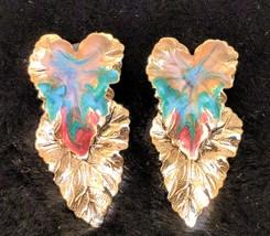 Vintage Leaf Earrings - Gold Tone Painted Droopy Double Leaf Post Earrings - $9.00