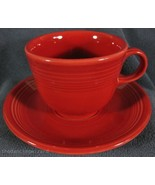 Fiesta Scarlet Flat Coffee Cup and Saucer Homer Laughlin China Lead Free  - $14.95