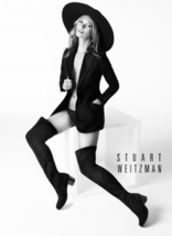 Stuart Weitzman HITEST Over the Knee Stretch Suede Slate Grey 5050 Thigh 7 NEW - $419.98
