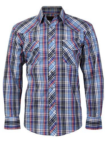 LW Men's Western Cowboy Pearl Snap Long Sleeve Cotton Rodeo Dress Shirt (Large,