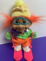 "1980's Born to Ski 9"" Troll Orange Hair Yellow Hat Green Shirt Pink Skis... - $16.82"