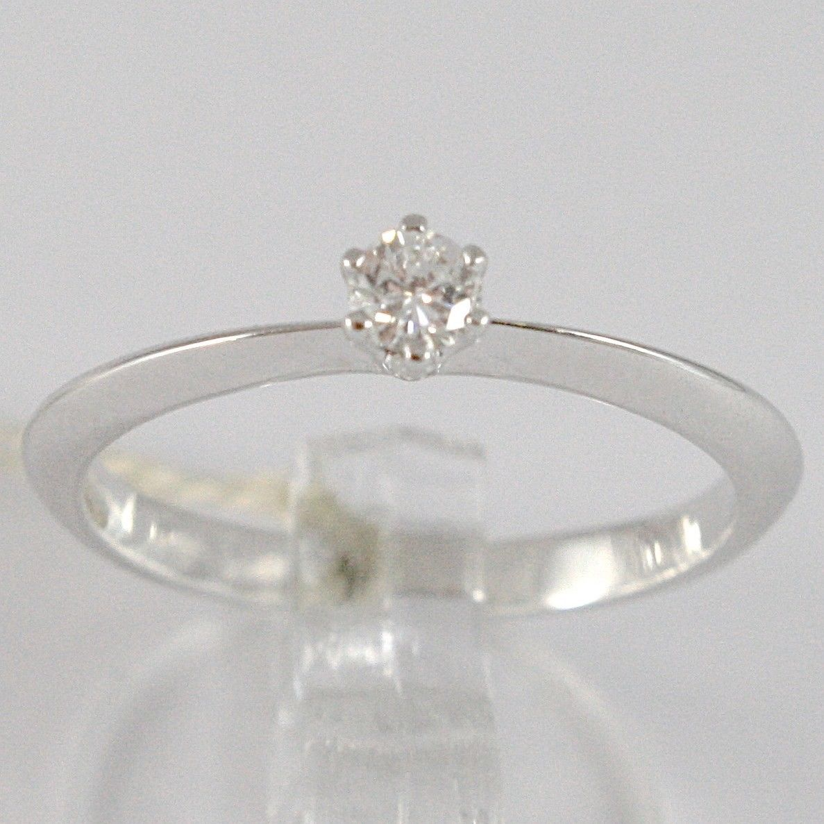 WHITE GOLD RING 750 18K, SOLITAIRE, STEM TIP, DIAMOND, CARAT 0.10