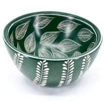 Tabaka Chigware Handmade Soapstone Green Foliage Leaf Design Trinket Bowl Kenya image 2
