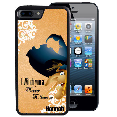 PERSONALIZED CASE FOR iPHONE X 8 7 6 5 SE 5C PLUS RUBBER WITCH HAPPY HALLOWEEN