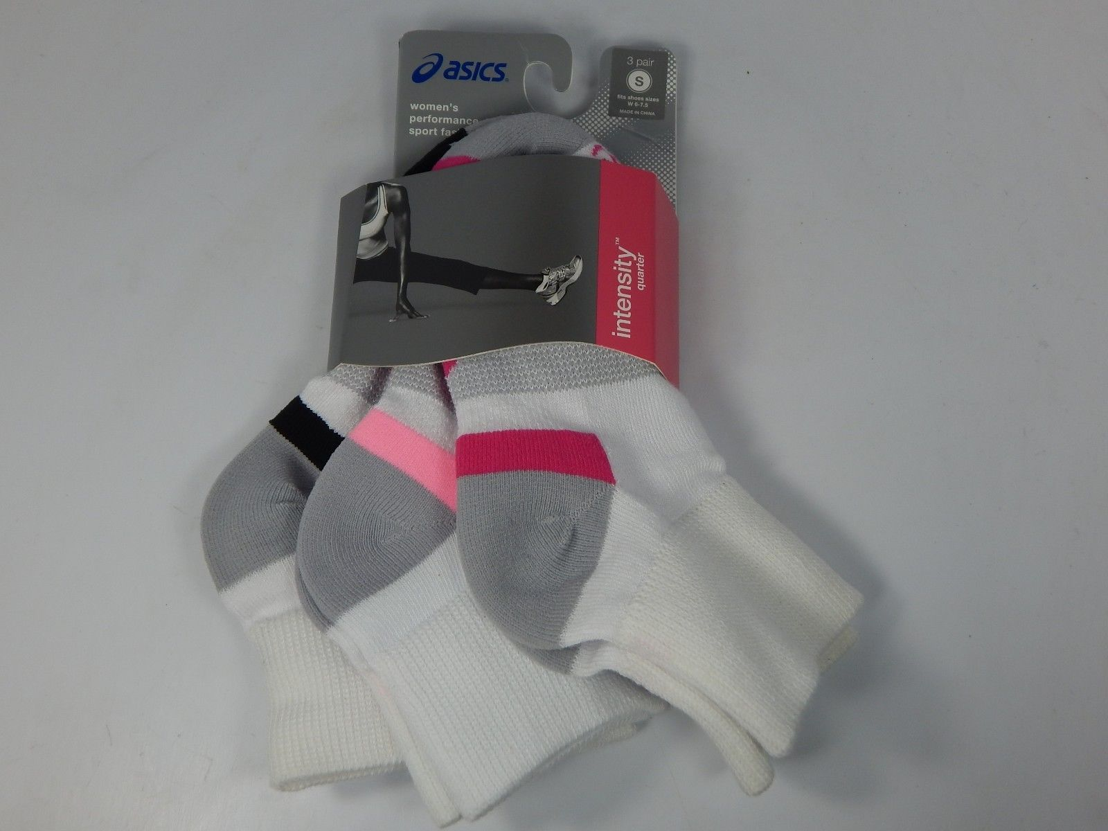 Asics Intensity Quarter 3 Pairs of White Socks S Small Women's Size 6-7.5